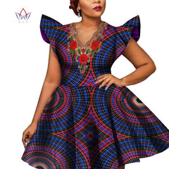 Fashion African Wax Print Dresses for Women Bazin Riche Short Sleeve Women Applique Dress Dashiki African Style Clothing WY228