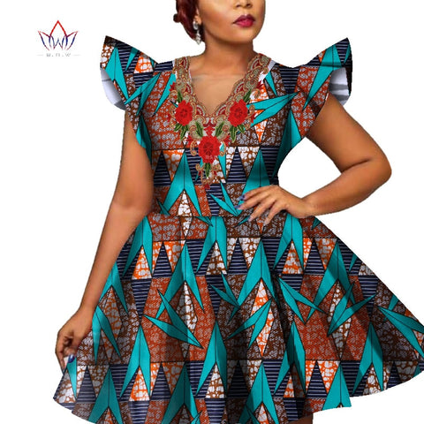 Fashion African Wax Print Dresses for Women Bazin Riche Short Sleeve Women Applique Dress Dashiki African Style Clothing WY228 1