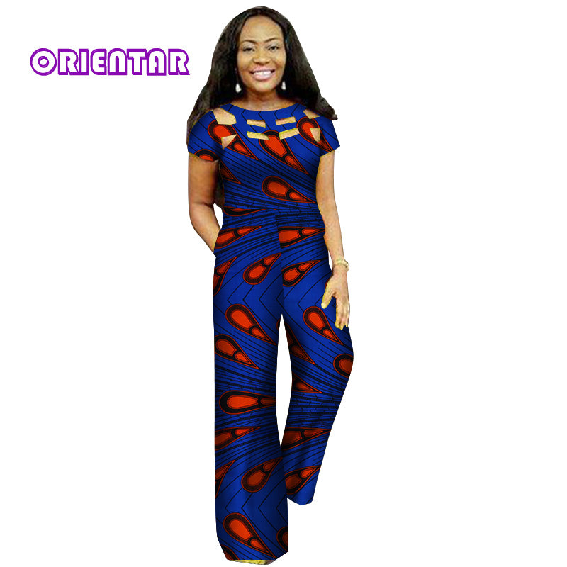 8efc29fc256c ... Fashion African Wax Print Hollow Jumpsuit for Women Bazin Riche 100%  Cotton Dashiki Jumpsuit African ...