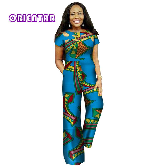 Fashion African Wax Print Hollow Jumpsuit for Women Bazin Riche 100% Cotton Dashiki Jumpsuit African Style Clothing WY3128