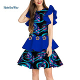 Fashion Bazin Riche Dress Vestido Cotton African Wax Print Dresses for Women Ruffled double lace African Design Clothing WY3197