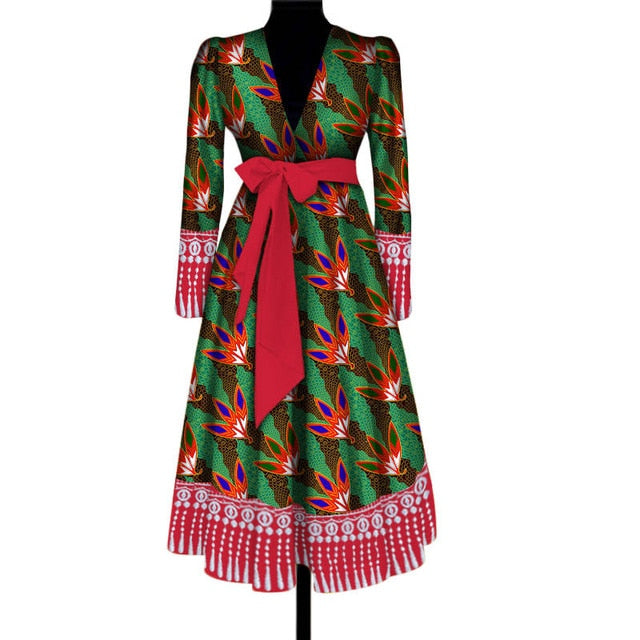 1e0cff3facb Fashion Bazin Riche Tassel Coat Dress with Waist Belt African Print ...