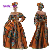 Fashion Bow knot Crop Top and Skirts Bazin Riche 2 Pieces Skirts Headwrap for Women Dashiki Traditional African Clothing WY3238