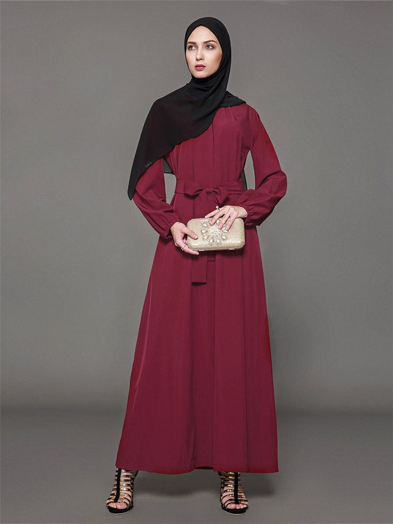 ... Fashion Casual Maxi Dress Abaya Plus Size Wrinkled Long-sleeved Muslim  Dress Worship Arab Robes f55ca6b4a