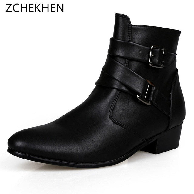 0b8a411d771 Fashion Classic Pointed Toe Men Black Ankle Boots Men Zip Chain Buckle  Designer Height Increased Fashion Dress Boots