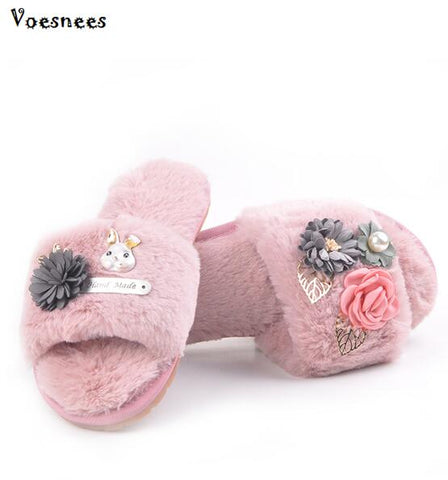 Fashion Flowers Women Slippers Home Indoor Plush Slippers Female Flats Shoes Comfortable Fur Ladies Pearl Slippers Shoes Women
