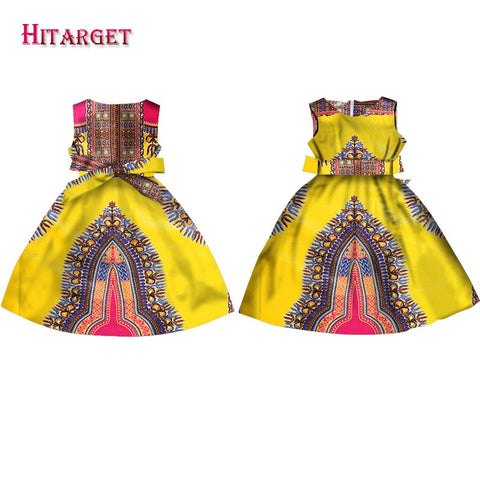Fashion Girls African Dresses Vestidos Kanga Clothing Dashiki African Wax Print Sleeveless A-line Java Dresses Clothes WYT57