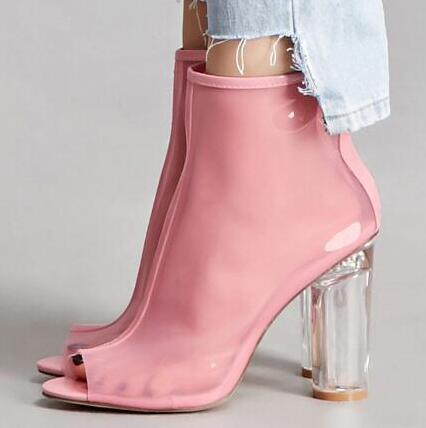 cd6657003d1f Hover to zoom. PrevNext. Image of Fashion High Block Heels Transparent  Ankle Boots Pink Leather Peep Toe ...