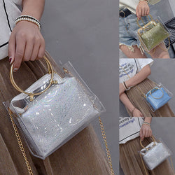 Fashion Korean Ladies Handbag PU Leather Metal Chain Transparent Crossbody Messenger Bags Women Girls Shoulder Bag FA$B