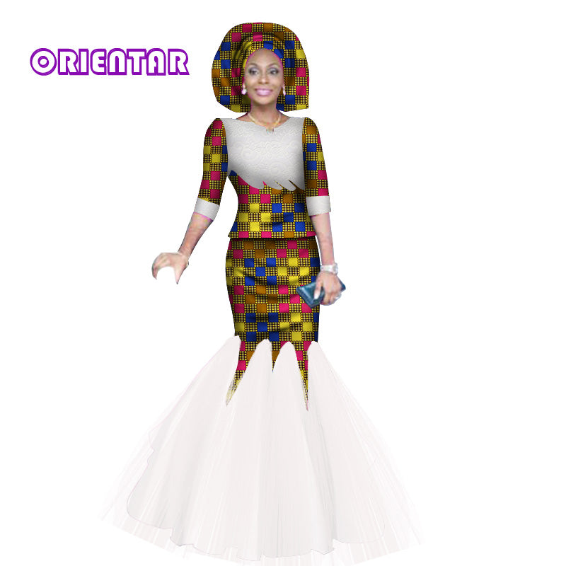 Fashion Lace Yarn Print Long Dresses With Headtie Vestidos Traditional African Clothing Bazin Riche Dresses For Women Wy2844 1