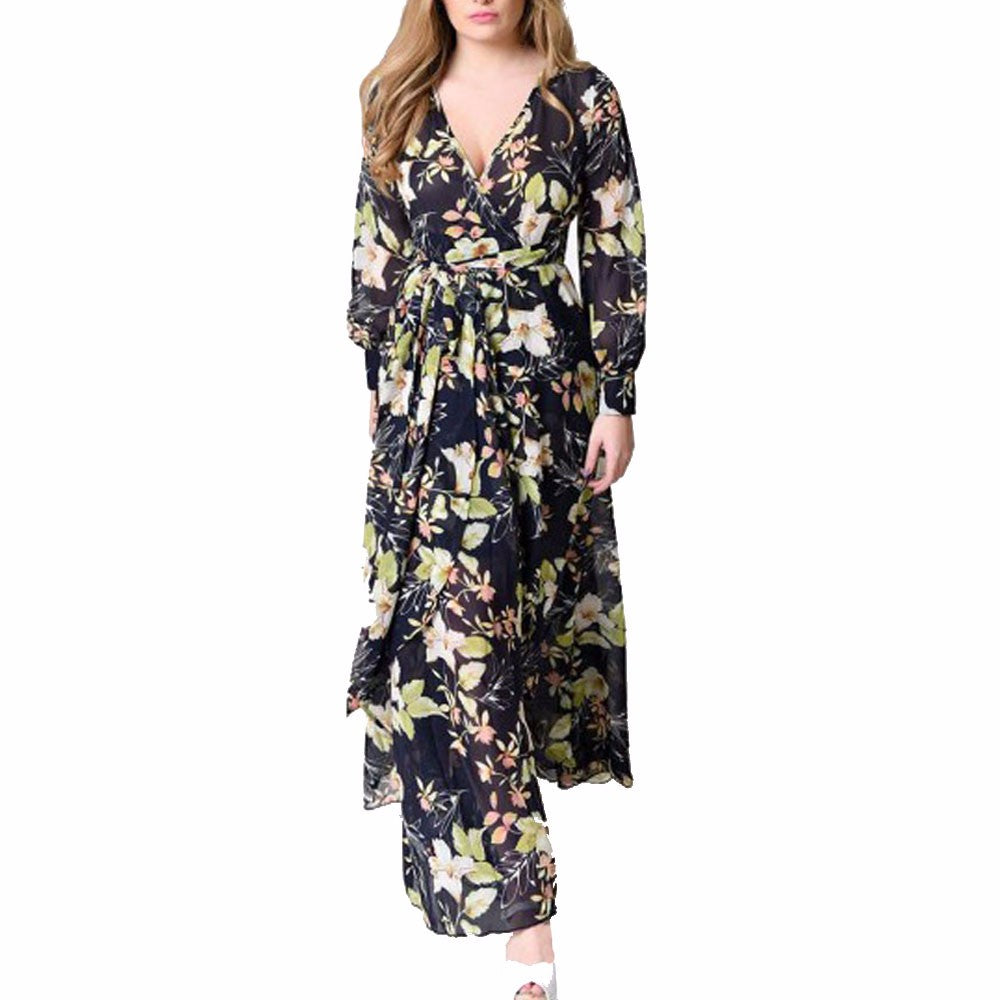 cc6d9d579d Fashion Maxi Dress Women Chiffon lovely Floral autumn Long Dress full Sleeve  night Party Beach Dresses. Hover to zoom