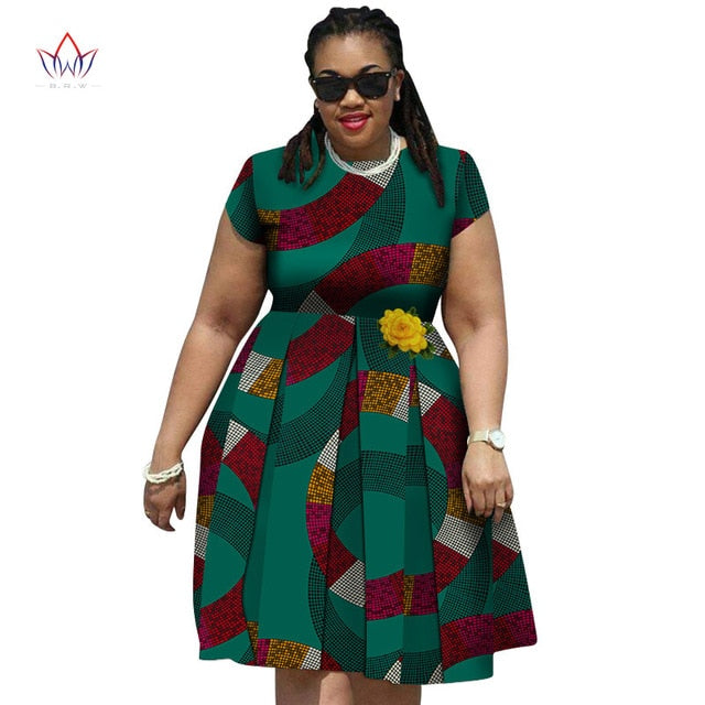 Fashion New African Print Dresses for Women Bazin Riche Traditional African  Women Clothing elegent women plus size dress wy4350