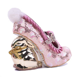 Fashion New Designers Bling Sequined Upper Single Shoes Round Toe Ruffles Sweet Gold Rabbit Heel Pumps Party Event Shoes Woman