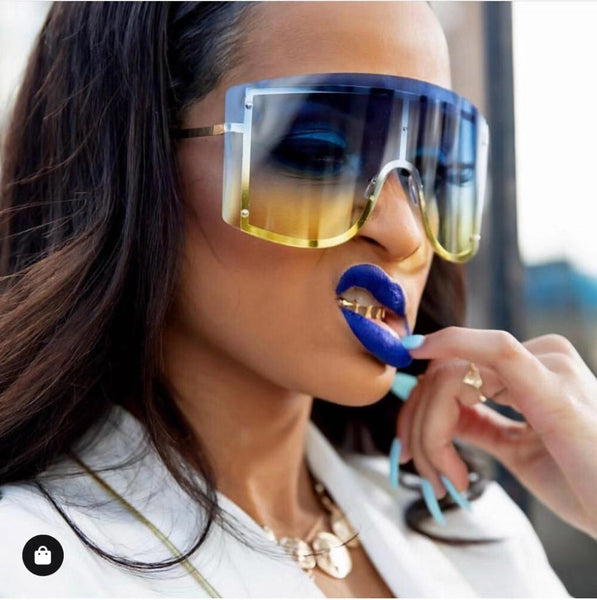 Fashion Oversized Blue Yellow Gradient Sunglasses Women 2019 Luxulry Brand Designer Red Rimless Metal Female Sun Glasses Shades