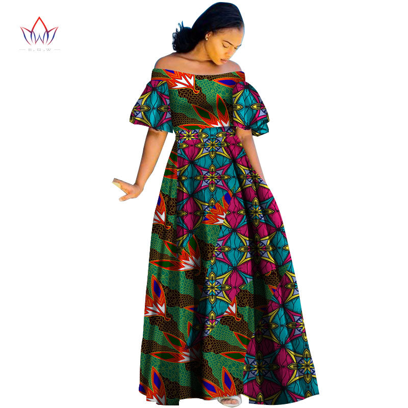 8aea9cfa51 Fashion Print Long Ball Gown Dresses Bazin Riche African Slash Neck Dress  for Women Vestidos Traditional African Clothing WY2791