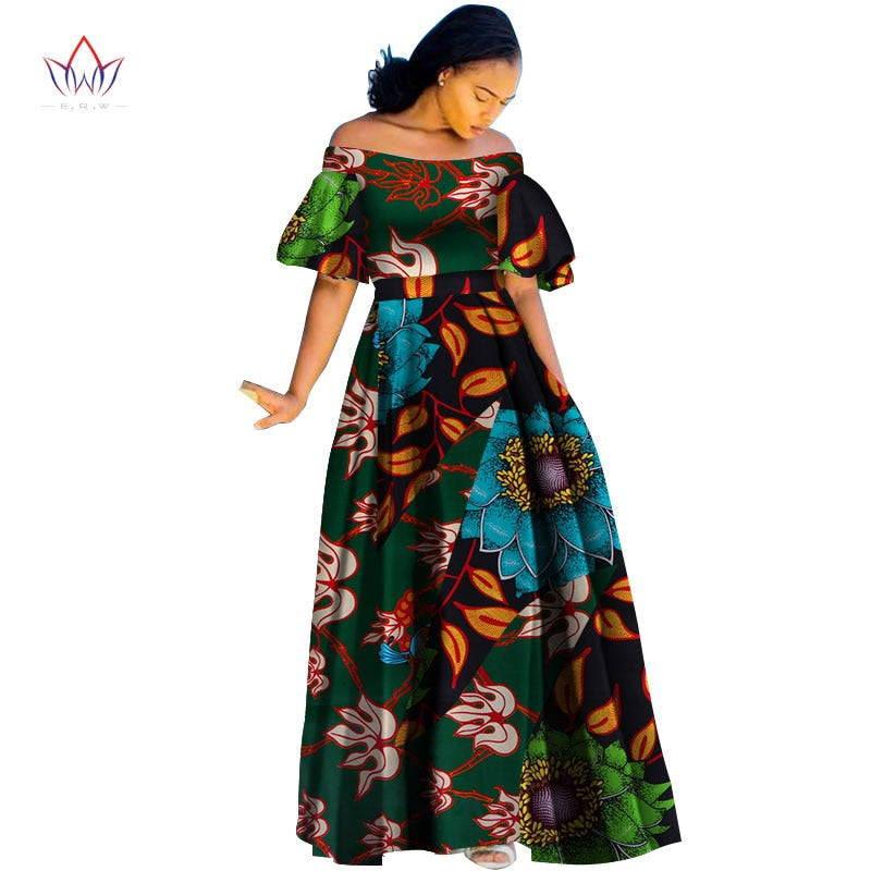7ebfc5ca1 Hover to zoom · Fashion Print Long Ball Gown Dresses Bazin Riche African  Slash Neck Dress for Women Vestidos Traditional