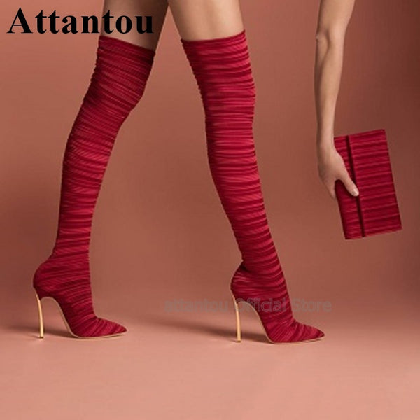 Fashion Red Black Women Over The Knee Long Boots Women Gold Metal Heels High Heel Shoes Pointed Toe Thigh High Boots