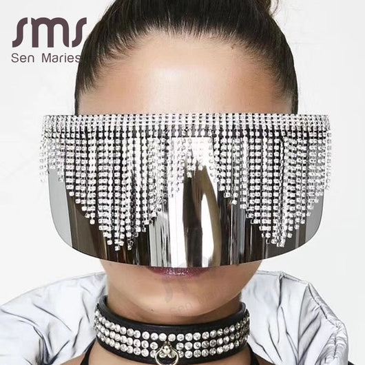 Fashion Rhinestone Oversized Mirror Sunglasses Women Men Luxury Big Frame Mask Diamond Eye Protection Silver Glasses Shade UV400