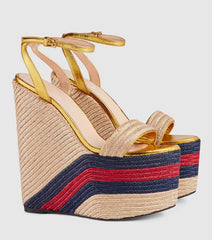 Fashion Rope Braided Platform Wedge Sandal 2018 Sexy Open Toe Ankle Strap Woman Shoes Ultra High Mixed Colors Summer Heels