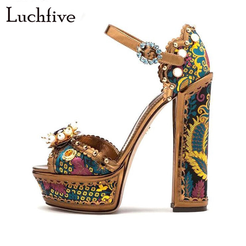 6f38c2a13e9 Fashion Sequins Rhinestone Sandals Sexy Peep Toe Chunky High Heel Party  Shoes Woman Pearls Buckle Strap Summer Zapatos De Mujer
