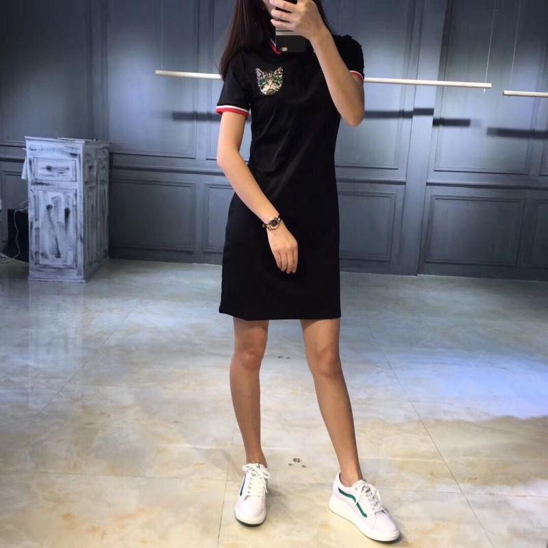 4a9915822aae Fashion Slim Embroidery Polo 2018 Sequined Cat Print Party T Shirt ...