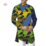 Fashion Spring African Wax Print Long Sleeve Top Shirts For Men Bazin Riche Mens Shirts Dashiki African Style Clothing WYN1111