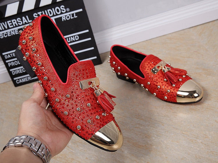 bf9c73b56195c Fashion Tassel Rivets Party Shoes Men Luxury Brand Design Casual Shoes Mens  Loafers Red Crystal Italian. Hover to zoom