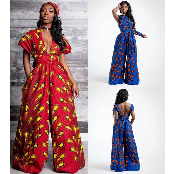 Fashion  V-neck Jumpsuit African Dresses for Women Bandage Wide Leg PantsTrousers Dashiki African Wax Clothes Vestios Robe Party