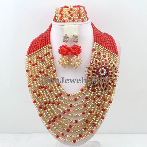 Fashion White/Red Nigerian Crystal Beads Necklace Bracelet Earrings Sets African Wedding Beads African Beads Jewelry Sets W13656