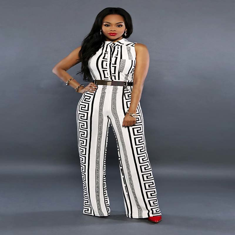 ebf3916e835 ... Fashion Wide Leg Jumpsuit Overalls Long Trousers Outfits Women Black  White Printed Gold Belted V- ...