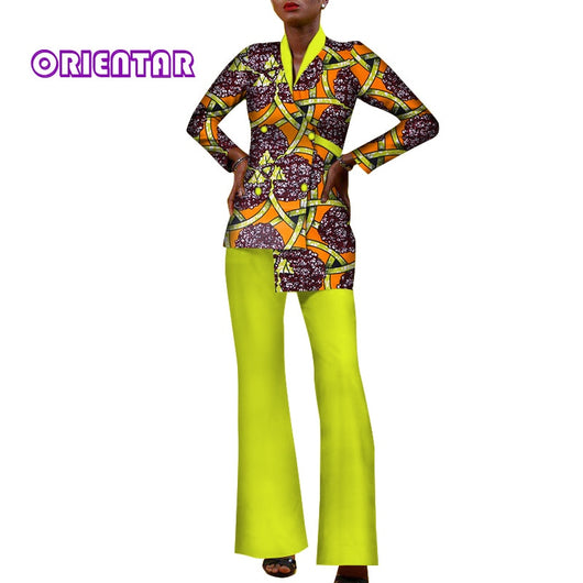 Fashion Women 2 Pieces Set Cotton African Print Top and Pants Set Long Sleeve Coat Pants Bazin Riche African Clothing WY209