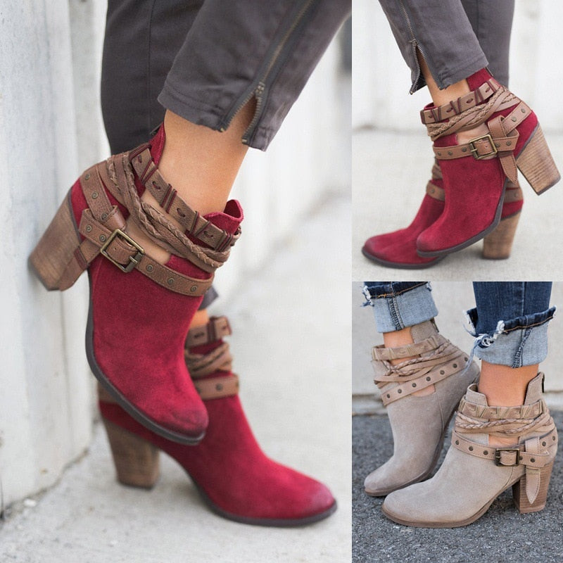 2daca6fad53e4f Fashion Women Boots Spring Autumn High Heels Shoes for Female Rivet Buckle  Daily Shoes PU Leather. Hover to zoom