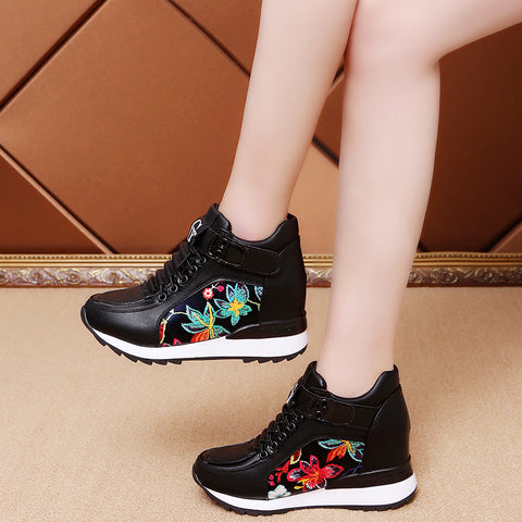 7a36029c47 ... Image of Fashion Women High Platform Shoes 7cm Height Increasing Ladies  Sneakers Spring Trainers Pu Leather ...