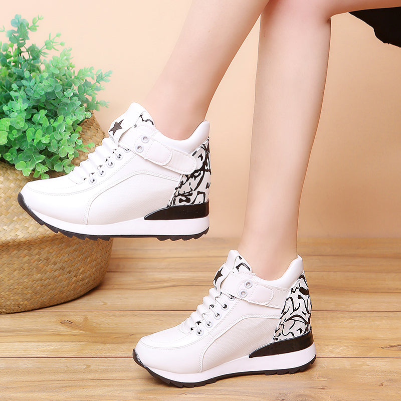 eca6456dae Hover to zoom · Fashion Women High Platform Shoes 7cm Height Increasing  Ladies Sneakers Spring Trainers Pu Leather Breathable Casual