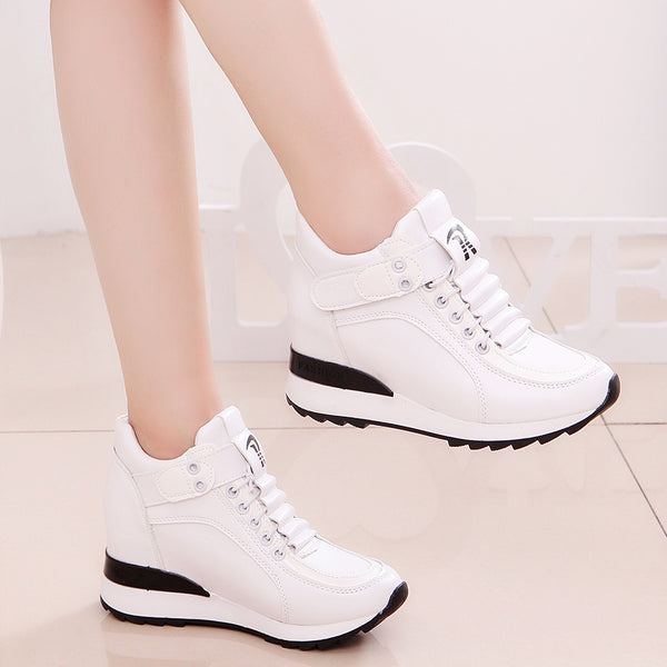 0144e83439 Fashion Women High Platform Shoes 7cm Height Increasing Ladies Sneakers  Spring Trainers Pu Leather Breathable Casual Sneakers
