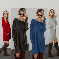 Fashion Women Ladies Autumn Casual Cotton Pockets Loose Long Sleeve Blouse Shirt Outwear Vestidos Clothes Off Shoulder Blouses