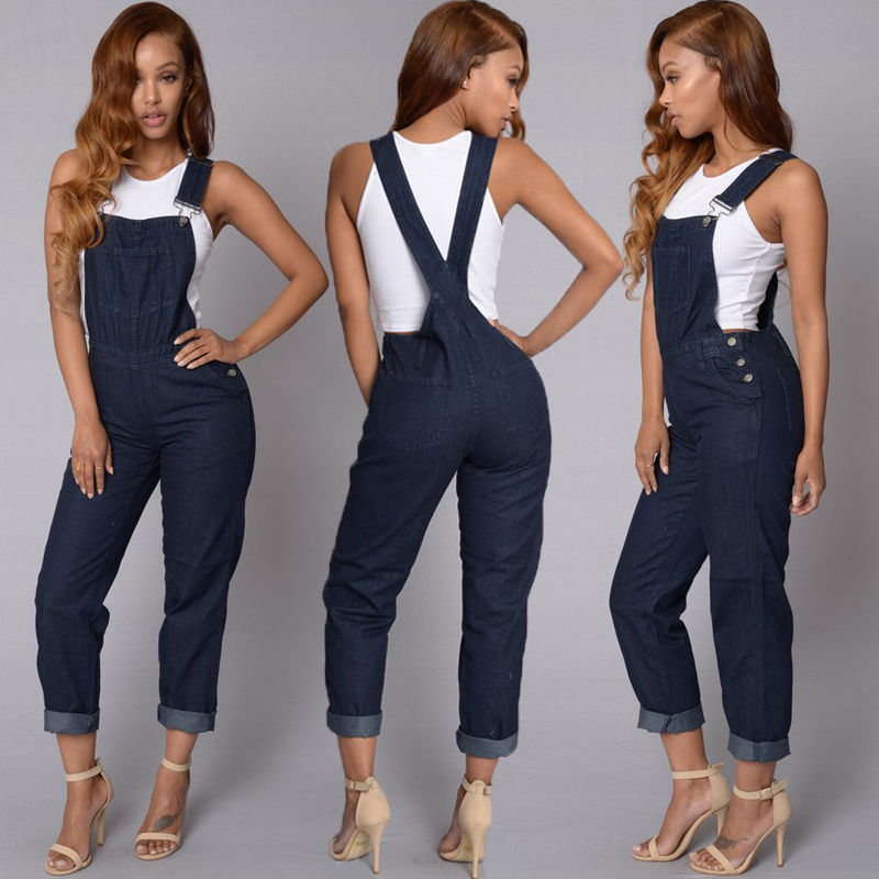 e4bba527490 ... Fashion Women Ladies Baggy Denim Jeans Bib Full Length Pinafore  Dungaree Overall Solid Loose Causal Jumpsuit