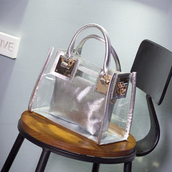 Fashion Women Summer Transparent Waterproof Beach Bag Candy Color Clear Handbag Tote Shoulder Bags Composite bag
