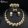 Image of Fashion of women jewelry set African Dubai gold-color Exaggerate necklace bracelet earrings wedding african beads jewelry sets