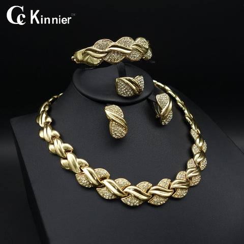 Fashion of women jewelry set African Dubai gold-color Exaggerate necklace bracelet earrings wedding african beads jewelry sets