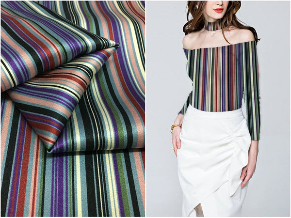 Fashion silk 19mm 97% silk & 3% spandex colored stripes print stretch silk satin fabric for dress shirt clothes cheongsam C011