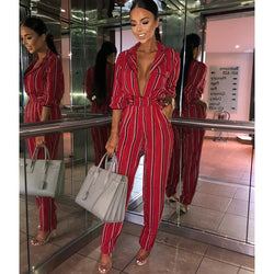 Fashion striped printed jumpsuits for women 2018 Half sleeve turn down collar long rompers womens jumpsuit Autumn new overalls