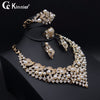 Image of Fashion women African beads pearl jewelry set dubai gold-color Nigeria wedding Exaggerated Necklace Bangle Earring Ring 17119