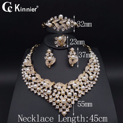 Fashion women African beads pearl jewelry set dubai gold-color Nigeria wedding Exaggerated Necklace Bangle Earring Ring 17119