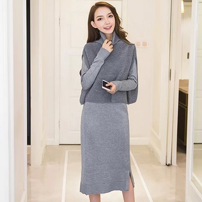 e3a00517c36e4 Fashion women sets new arrival autumn korean OL slim full sleeve solid  color comfortable dress and loose sweater 2 pieces set
