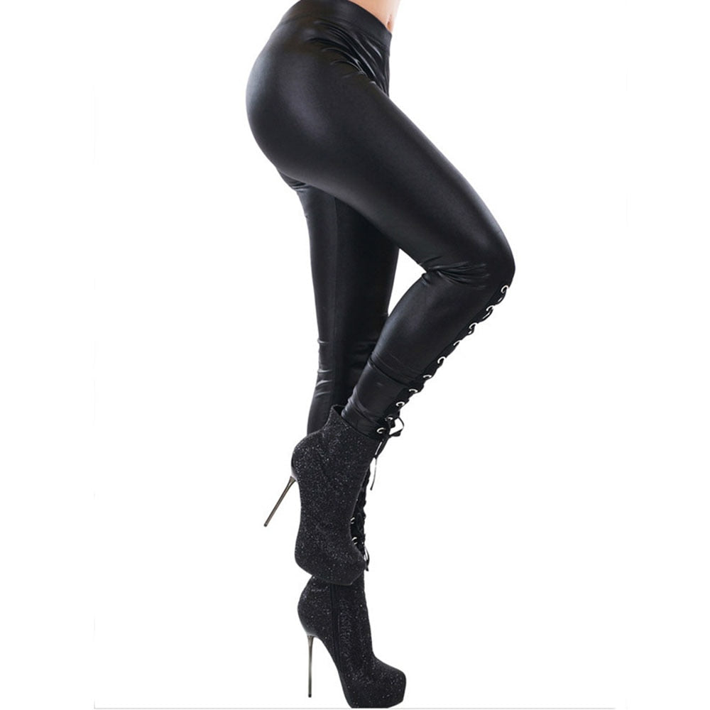 b94ba00ce29e Hover to zoom. PrevNext. Image of Faux Leather Leggings Gothic black Sexy  Women ...