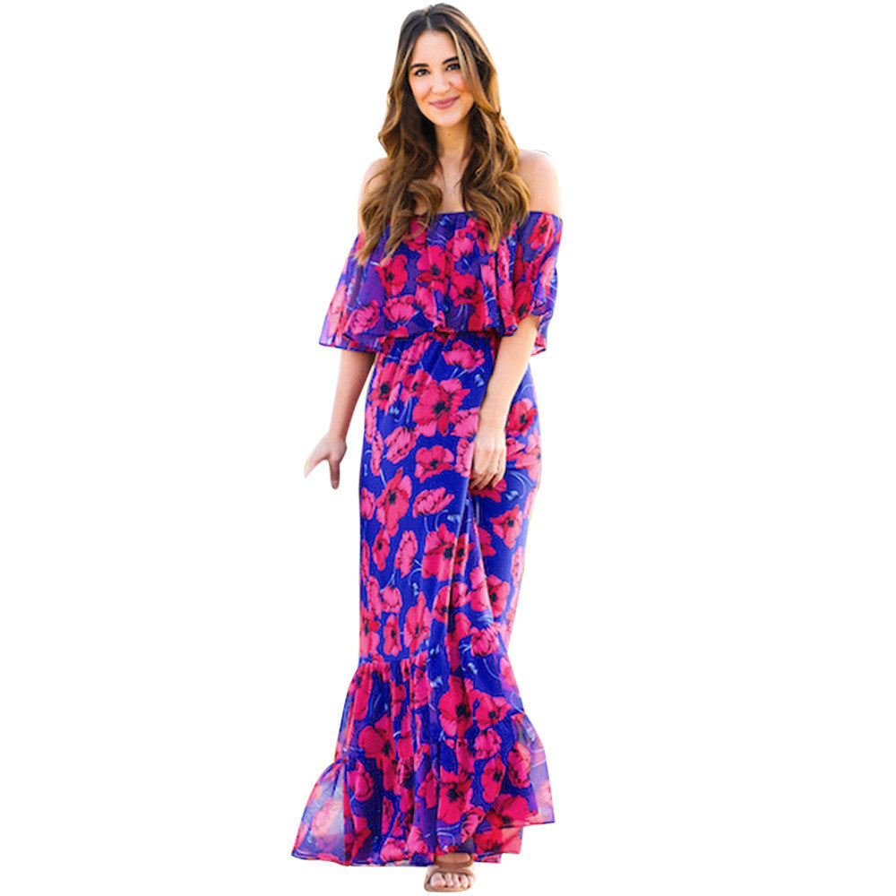 267a127429 Feitong Women s New Fashion 2018 Ladies Boho Summer Beach Party Long Maxi  Dress Sundress Sexy Off. Hover to zoom