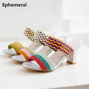 781ccbfc9c Female Shoes Thick Heels 7cm Peep Toe Slipper Weaving Yellow Green Red Plus  Size 34 3 ...