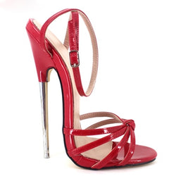 Fetish Giaro Slick 2019 Fashion Ankle Strap Pointed Toe Women Shoes Metal  stiletto Heels High-Heeled Shoes 16CM unisex sandals