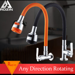 Flexible Direction Rotating Kitchen Faucet Deck Mount Cold Water Faucet Single Handle One Hole Tap Free Shipping